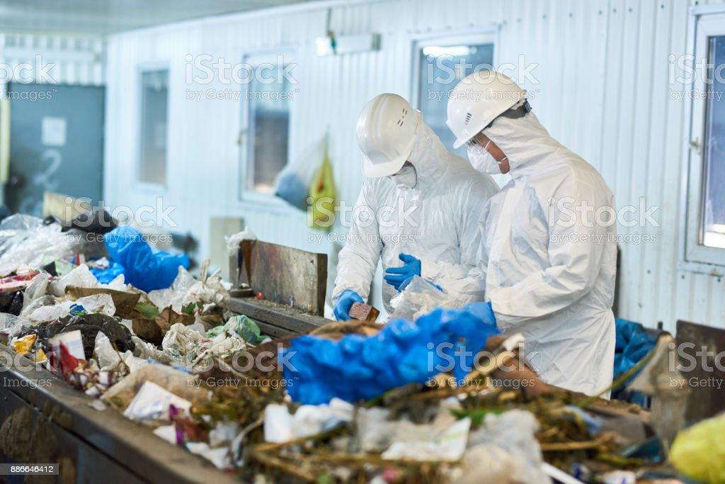 Trash Sorting on Waste Processing Plan stock photo