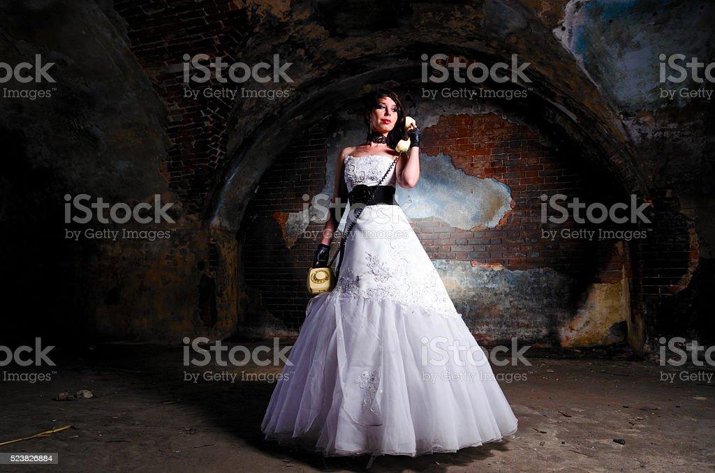 trash the dress woman stock photo