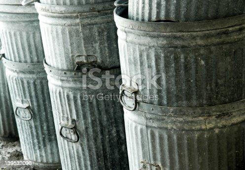 stacks of trashcans