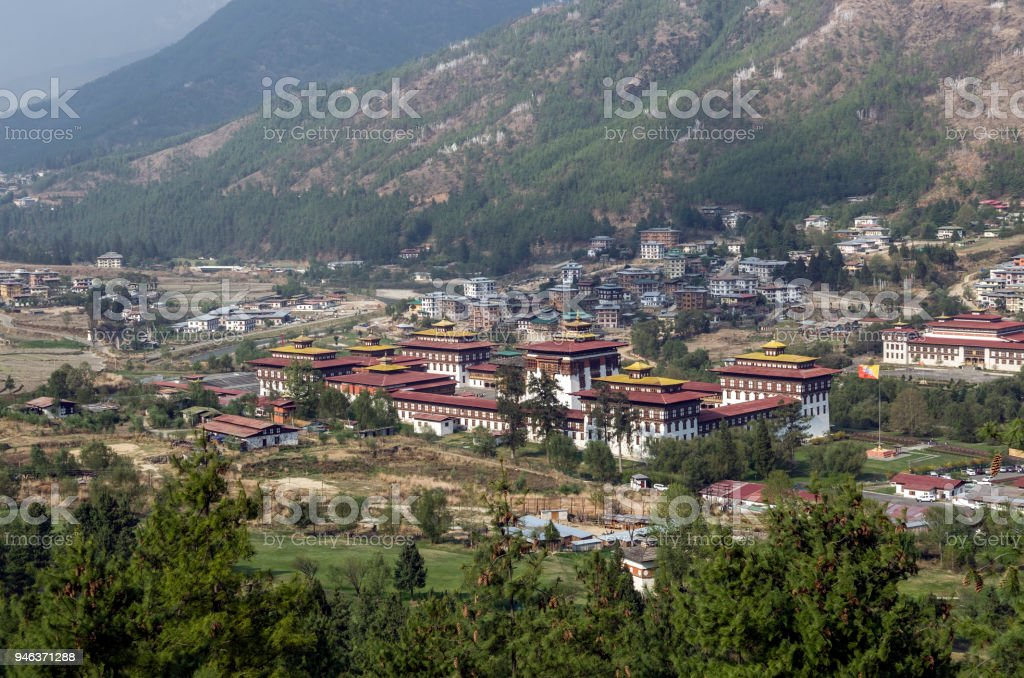 Trashi Chhoe Dzong and landscape of paddy farm villages, Thimphu, Bhutan stock photo
