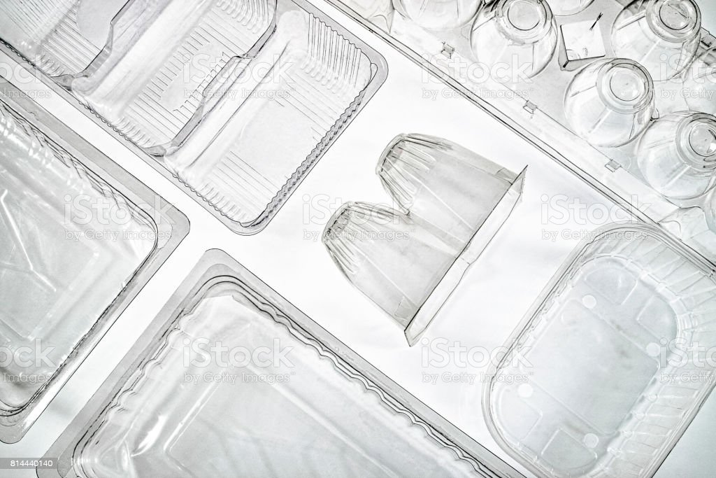 trasparent containers of plastic and polyurethane stock photo
