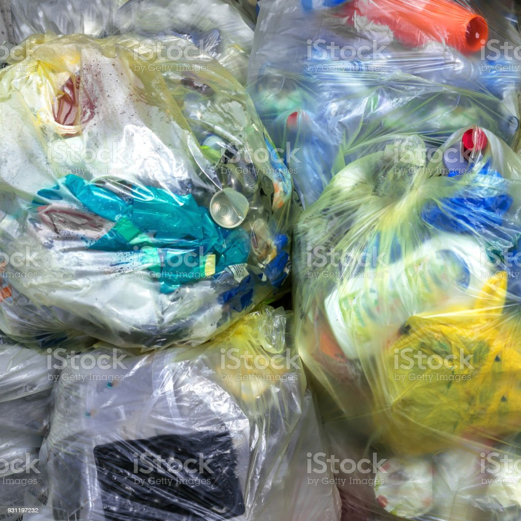 Trasparent plastic bags stock photo