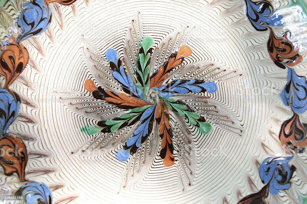 TraTraditional Romanian earthenware pottery at Horezu ceramic royalty-free stock photo