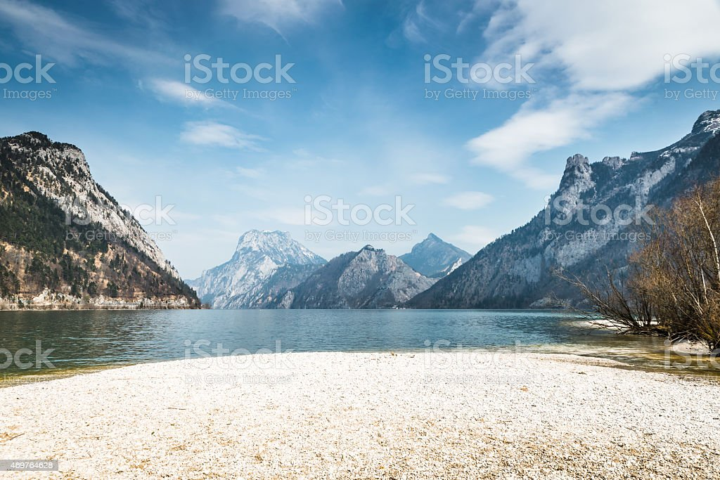 Traunsee Lake in Gmunden stock photo