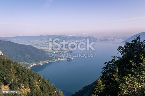 istock Traunsee lake with alps mountain and city Traunkirchen from lookout viewing place Spitzlsteinalm. Austria landscape 1268392681