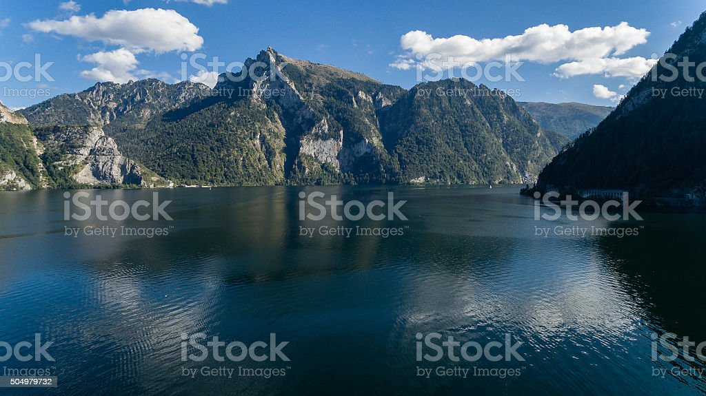 Traunsee summer lake (Austria). Aerial view stock photo
