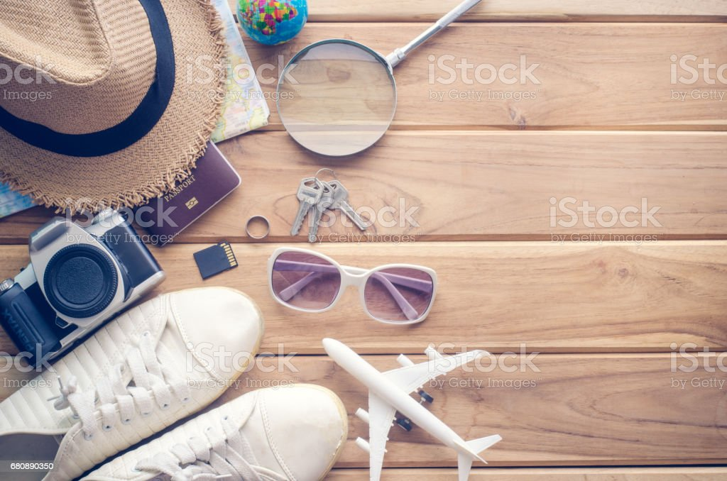 Travel accessories apparel along for the trip royalty-free stock photo