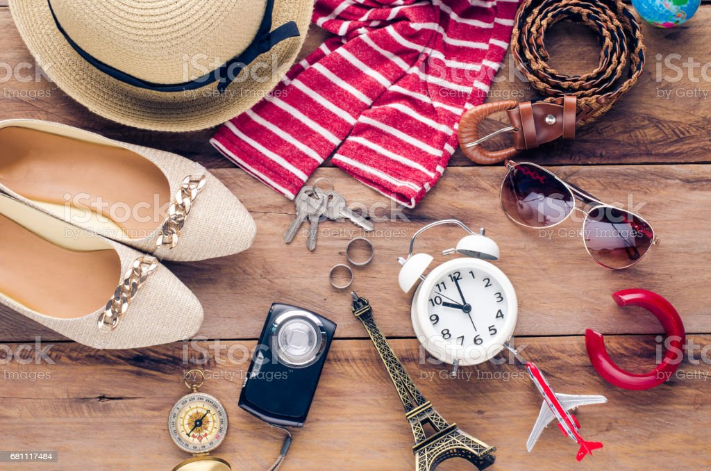 Travel accessories costumes. Passports, accessories prepared for the trip royalty-free stock photo