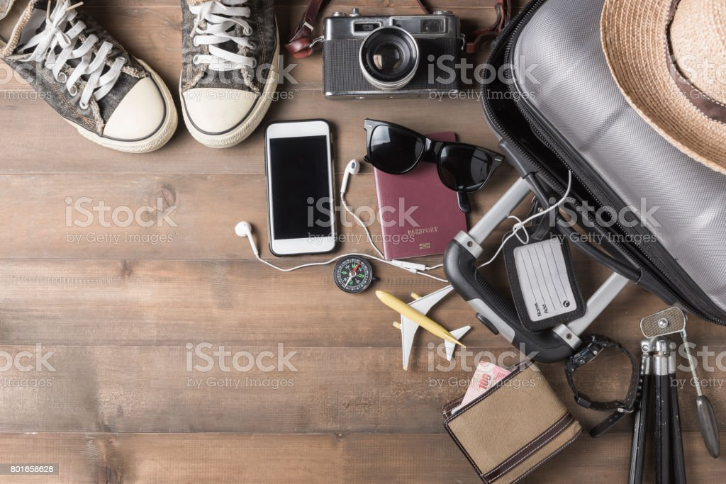 Travel accessories costumes. Passports, luggage - Royalty-free Adult Stock Photo