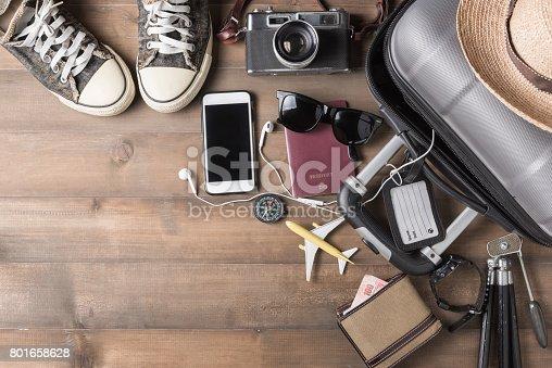 istock Travel accessories costumes. Passports, luggage 801658628