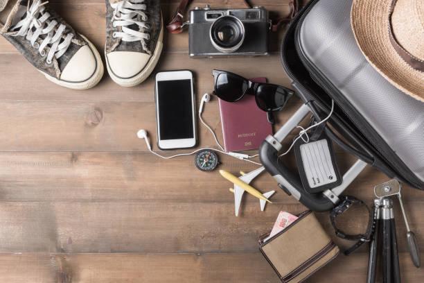 Travel accessories costumes. Passports, luggage stock photo