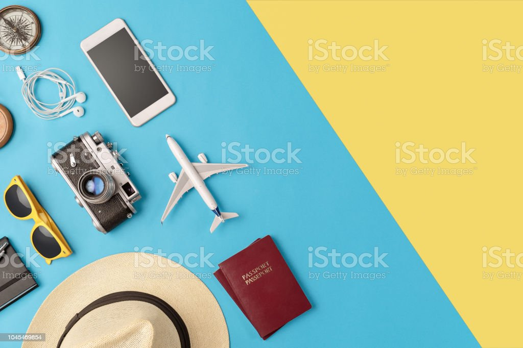 Travel accessories flat lay with copy space royalty-free stock photo