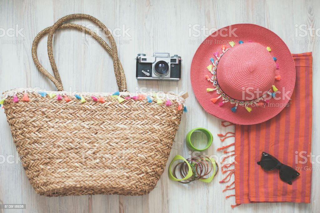 Travel accessories organized in knolling arrangement stock photo