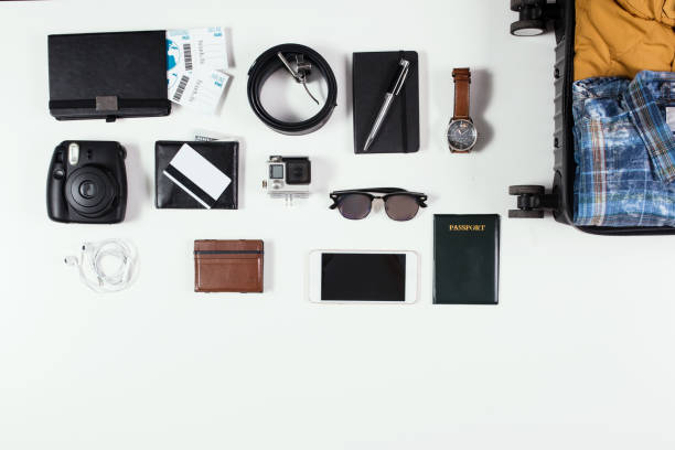 Travel accessories Travel accessories knolling concept stock pictures, royalty-free photos & images