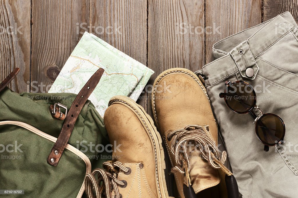 Travel accessories set stock photo