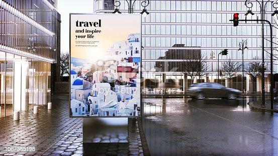 istock travel advertising billboard  on city downtown 1067355198