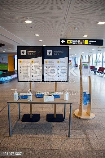 Tallinn, Estonia - FEB 05, 2020: Travel advice because of the COVID-19 outbreak in airport of Tallinn