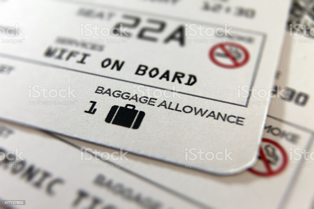 Travel airplane ticket: boarding pass, one baggage only on board stock photo