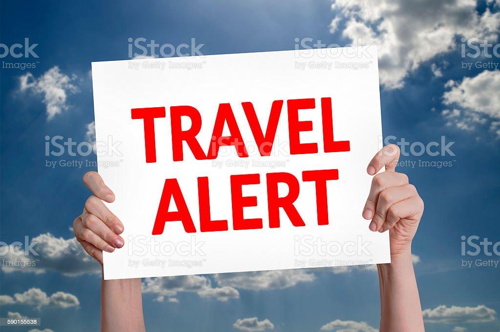 Travel alert card stock photo