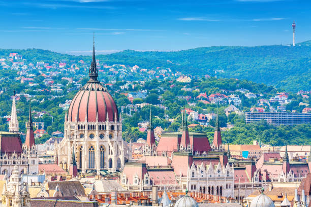 Travel and european tourism concept. Parliament and buda side panorama of Budapest in Hungary during summer sunny day with blue sky and clouds. View from Saint Istvan's basil. stock photo