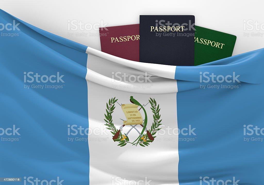 Viajes y turismo en Guatemala, con variados pasaportes - foto de stock