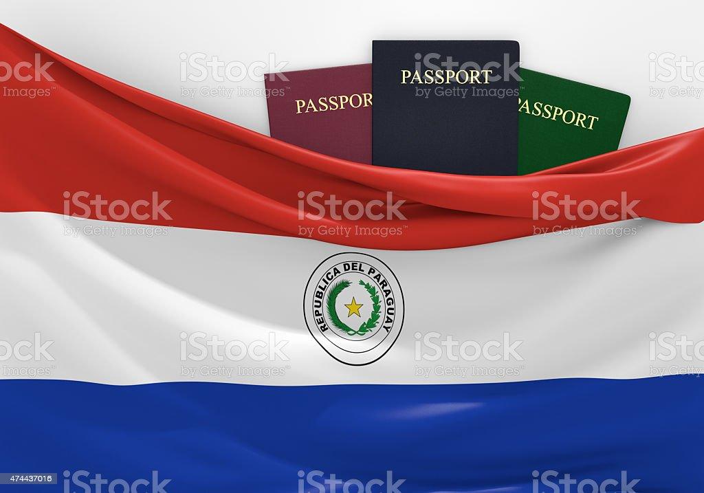 Viajes y turismo en Paraguay, con variados pasaportes - foto de stock