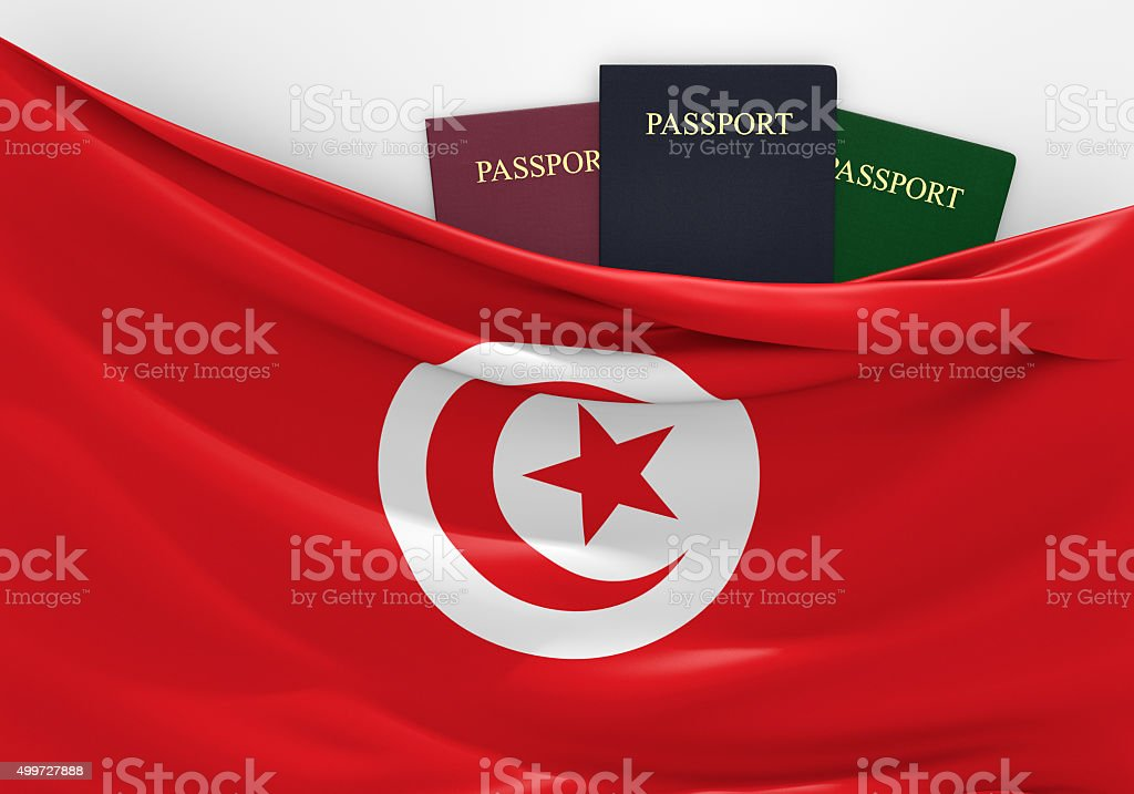 Travel and tourism in Tunisia, with assorted passports stock photo