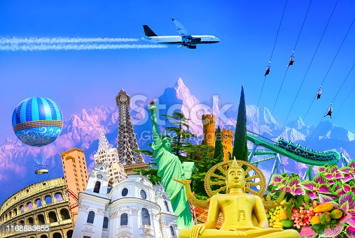 Travel and Tourism with Famous World Landmarks. Concept of aircraft trip