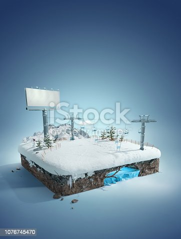 istock Travel and vacation background. 3d illustration with cut of the ground and the winter concept. Baby road, ski resort, slope, and  ski lift. 1076745470