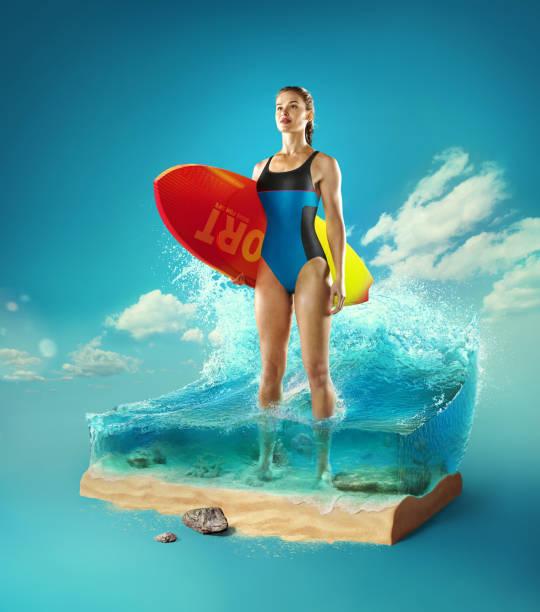 reise- und urlaubshintergrund. 3d-illustration mit schnitt des bodens und das schöne meer unter wasser. weibliche surferin steht im baby-meer isoliert auf blau. - digital surfer stock-fotos und bilder