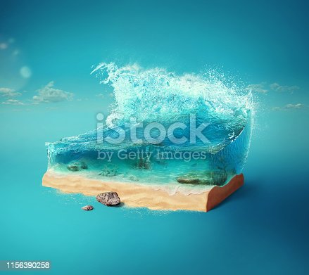 istock Travel and vacation background. 3d illustration with cut of the ground and the beautiful sea underwater. Baby sea isolated on blue. 1156390258
