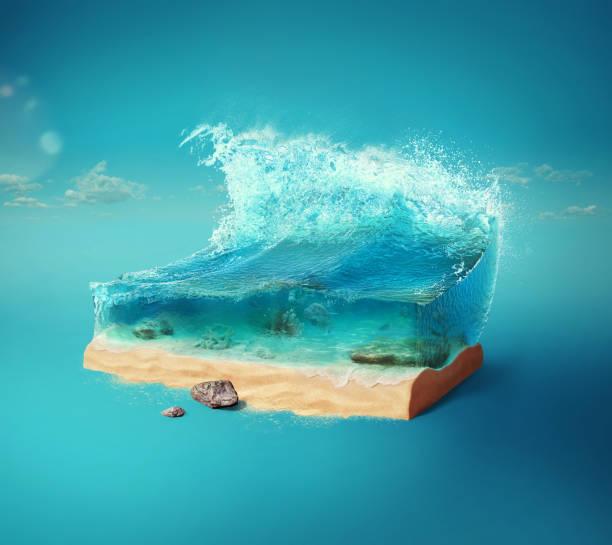 여행 및 휴가 배경입니다. 지상과 아름다운 바다 수중의 컷 3d 그림. 푸른 색에 고립 된 아기 바다. - 일러스트레이션 뉴스 사진 이미지