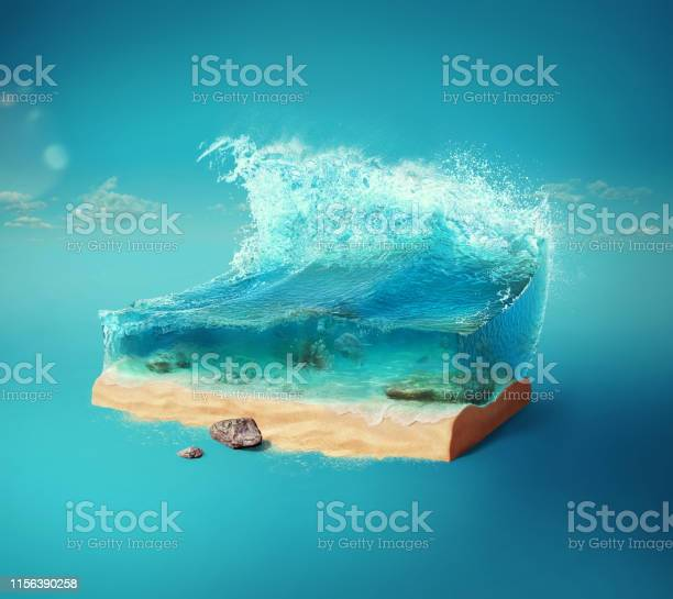 Photo of Travel and vacation background. 3d illustration with cut of the ground and the beautiful sea underwater. Baby sea isolated on blue.
