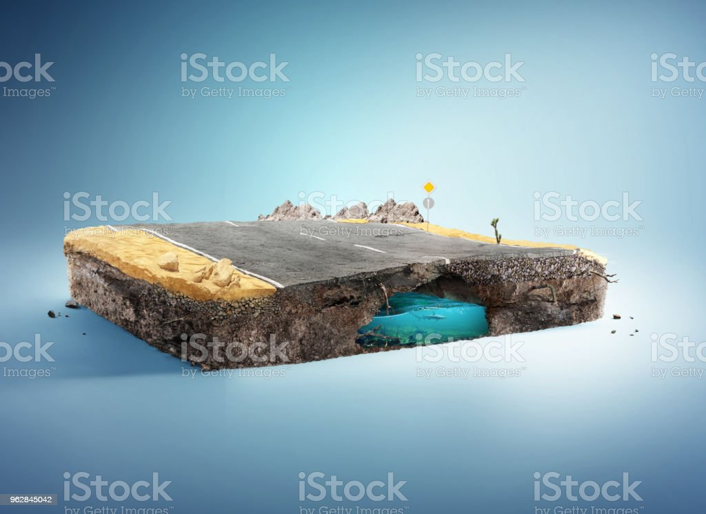 Travel and vacation background. 3d illustration with cut of the ground and the desert road. Baby road isolated on white. stock photo