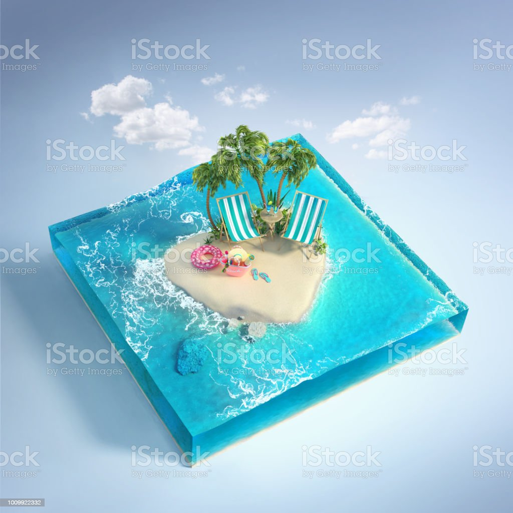Travel and vacation background. 3d illustration with cut of the sea and beautiful island. Baby island isolated on white. stock photo