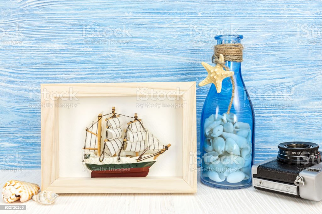 Travel And Vacation Background With Photo Frame Ship And Camera