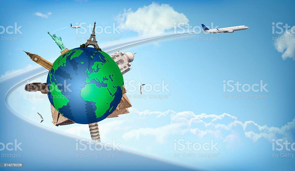 Voyage dans le monde en avion, concept illustration - Photo