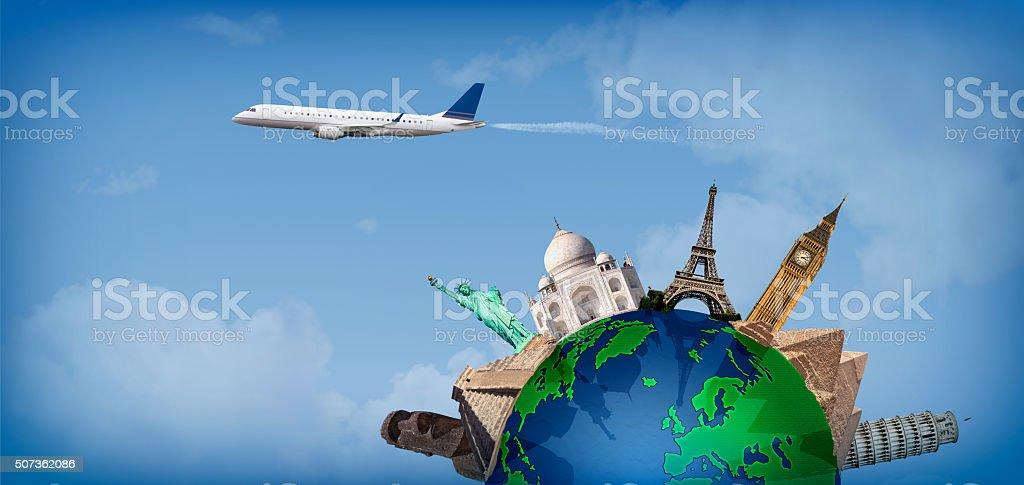 Travel around the world concept airplane stock photo