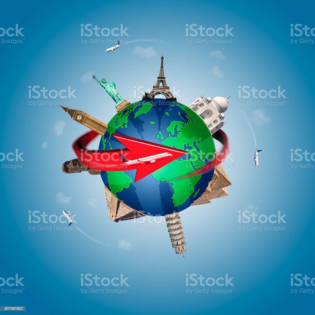 Travel around the world concept stock photo