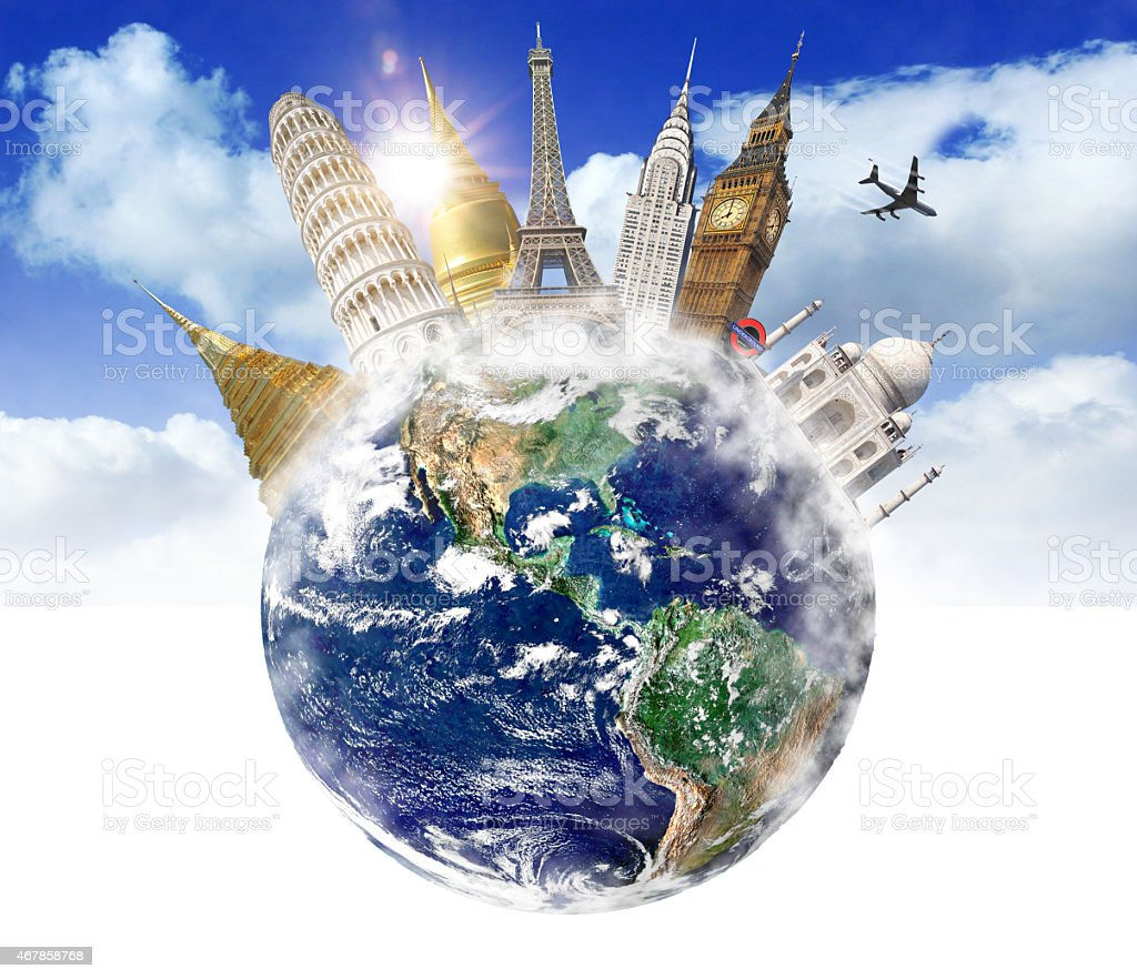 Travel around the world with famous places and monuments stock photo
