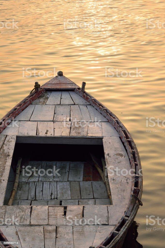 Travel Background Boat Ride at Ganges river at Varanasi, India royalty-free stock photo