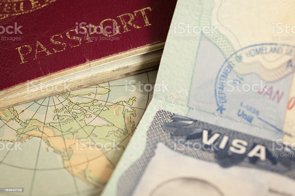 "travel background ""US visa, vintage map and passport background"" Concepts Stock Photo"