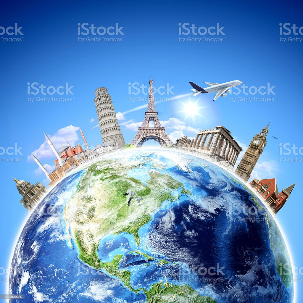 Travel background with famous places stock photo