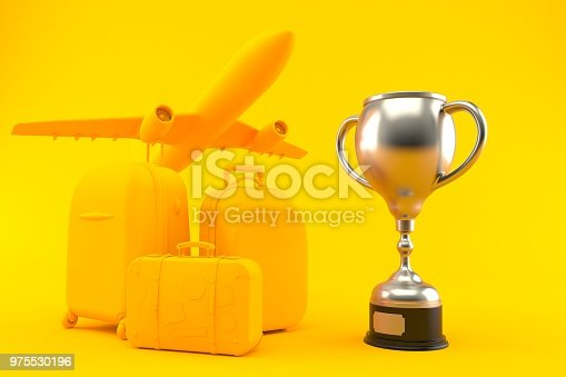 istock Travel background with trophy 975530196