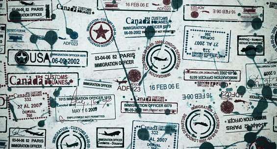 Travel background with visa stamps