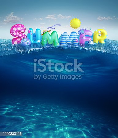 istock Travel backgrounds. Summer 3d rendered banner with 3D text and colorful balls, fishes, flamingo and the sun in blue sky and sea background for summer season holiday. 1140330113