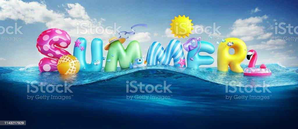 Fondos de viaje. Verano 3D representado banner con texto 3D y bolas de colores, peces, flamenco y el sol en el cielo azul y el fondo del mar para las vacaciones de la temporada de verano. foto de stock libre de derechos