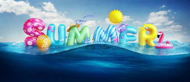 travel backgrounds. summer 3d rendered banner with 3d text and colorful balls, fishes, flamingo and the sun in blue sky and sea background for summer season holiday. - summer стоковые фото и изображения