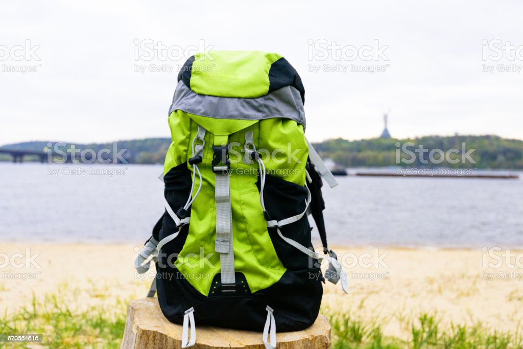 Travel backpack on the awesome nature background. stock photo