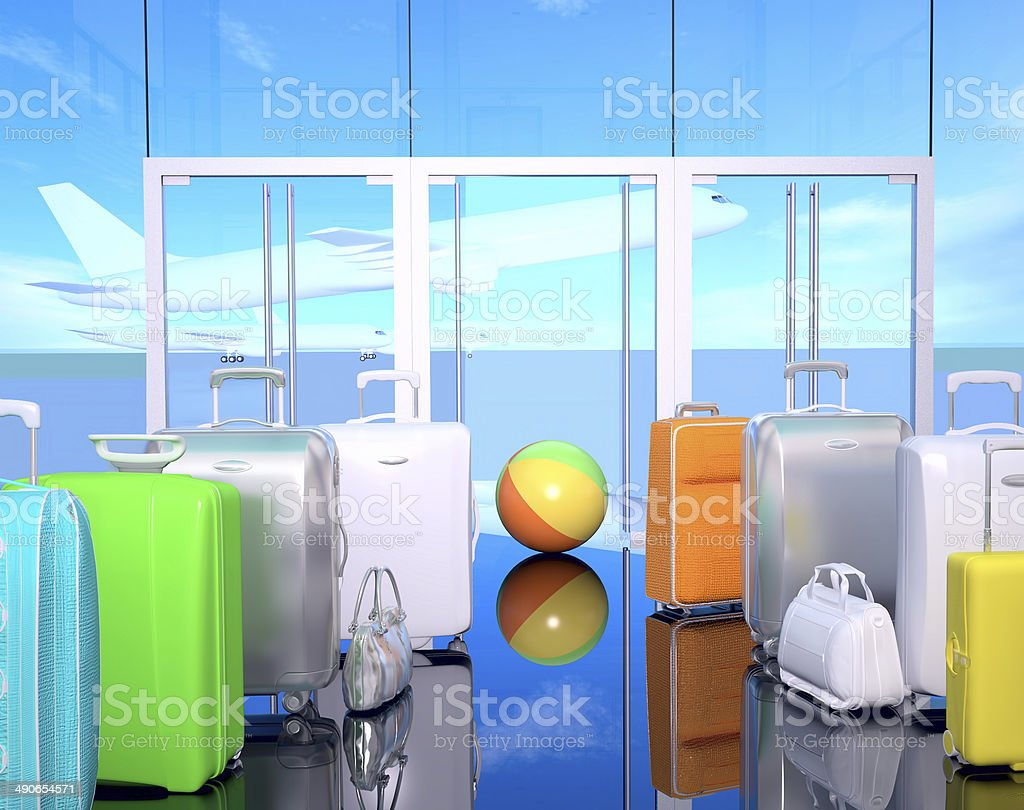 Travel bags, ball and airplane in sky. royalty-free stock photo